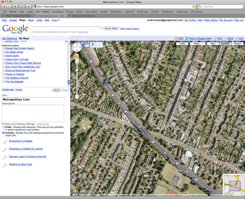 A screenshot showing a route being edited in Google My Maps