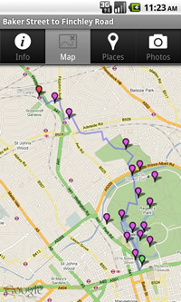 A route map in the Tubewalker Android application