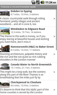 A list of recommended walks in the Tubewalker Android application