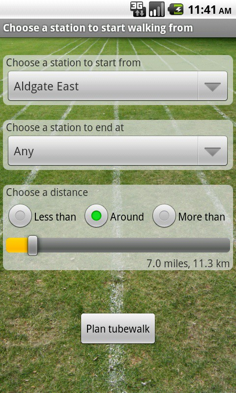 The tubewalk planner in the Tubewalker Android application