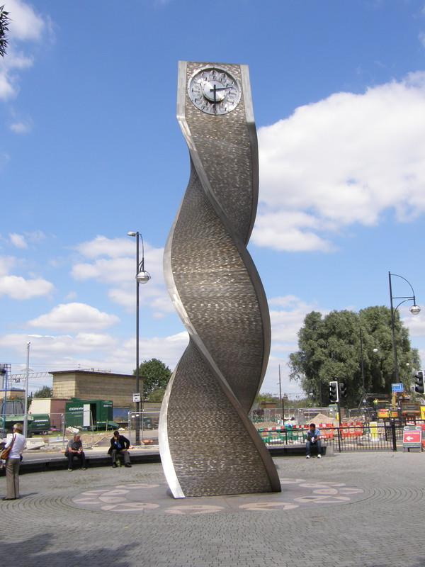 The groovy twisted-steel clock outside Stratford station