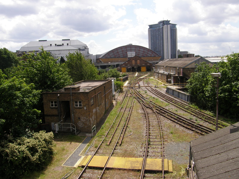 Railway lines heading south to Earls Court Exhibition Centre