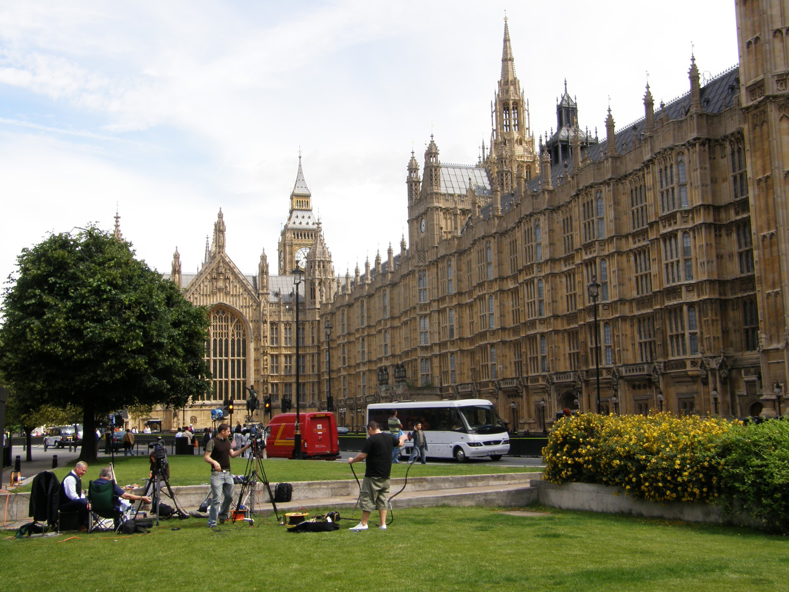 A television crew in front of the Palace of Westminster