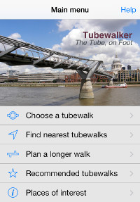 The main menu of the Tubewalker iPhone application