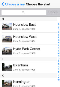 A list of all the Tube stations in the Tubewalker iPhone application