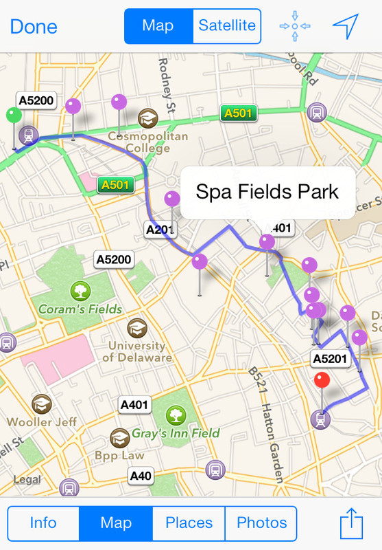 A route map in the Tubewalker iPhone application