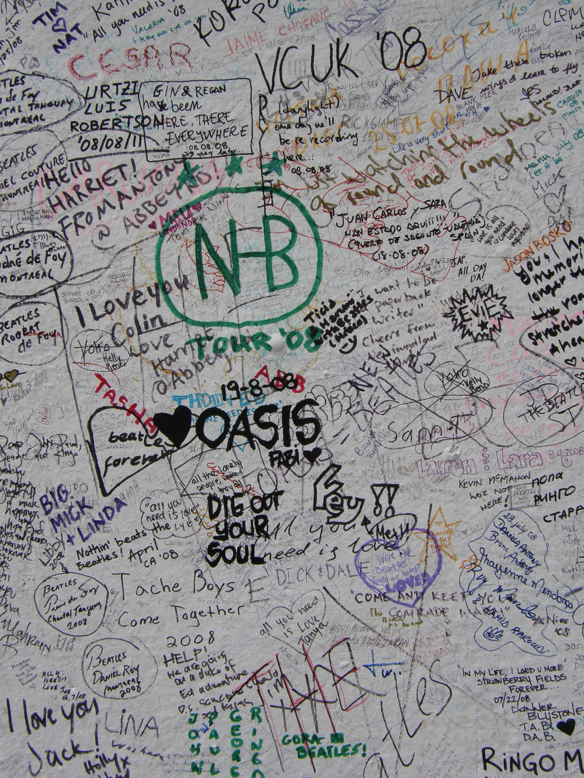 Graffiti on the wall outside Abbey Road Studios