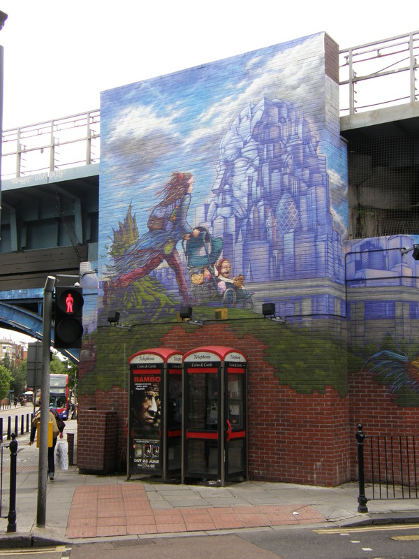 Part of the mural under the bridges at Kilburn station