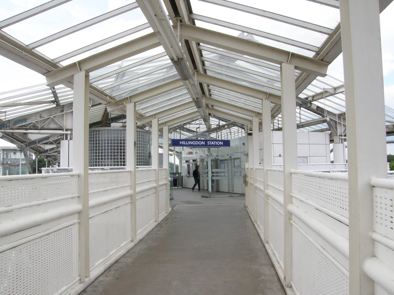 The walkway to Hillingdon station