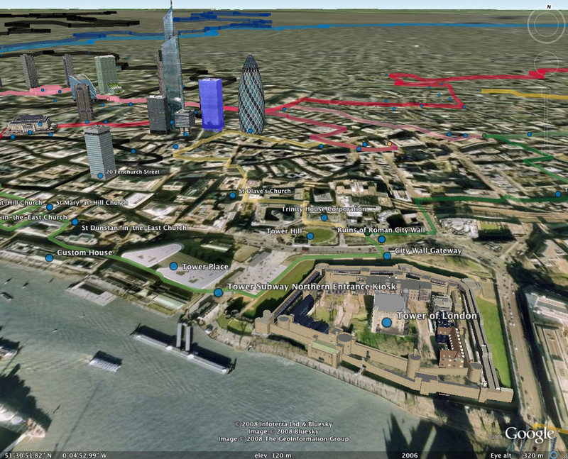 Google Earth showing my tubewalking routes around the Tower of London