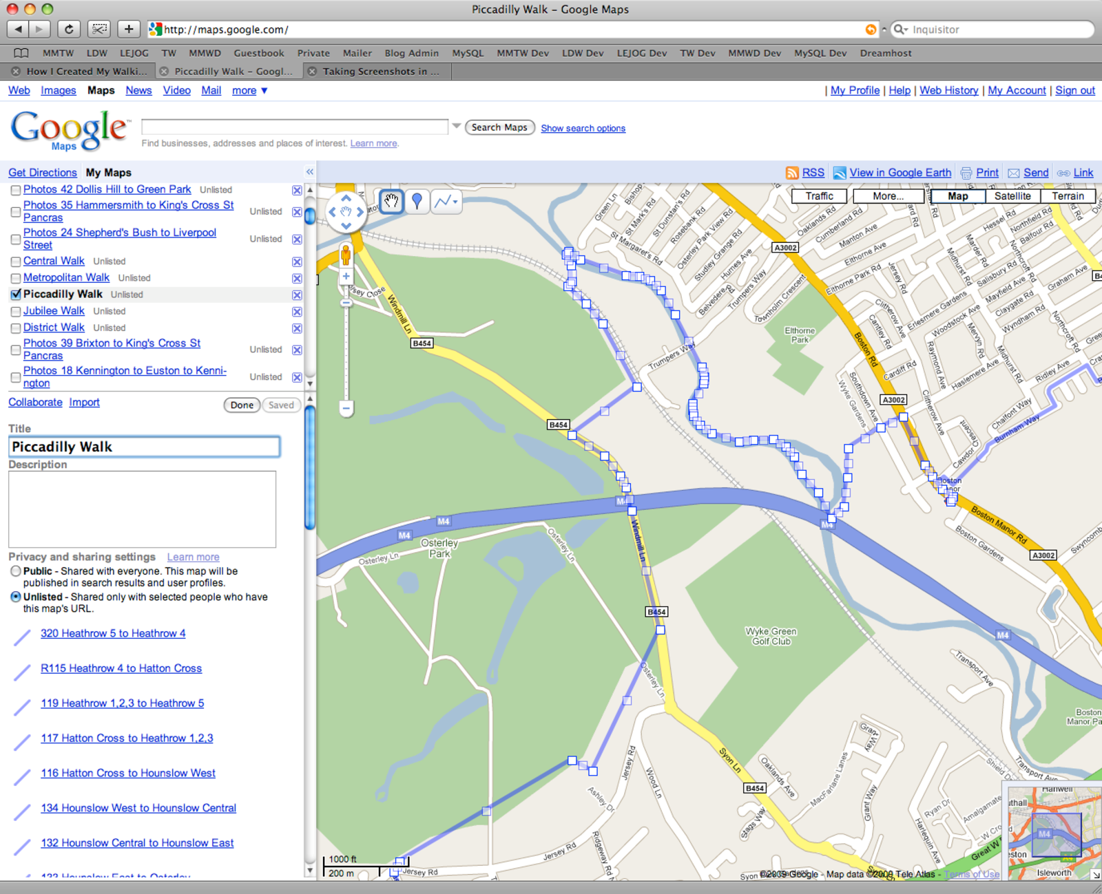 A screenshot showing a walking route being edited in Google My Maps