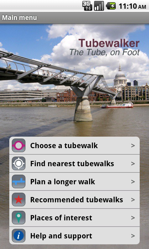 The main menu of the Tubewalker Android application