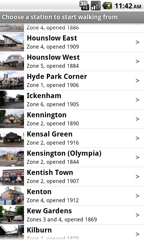 A list of all the Tube stations in the Tubewalker Android application