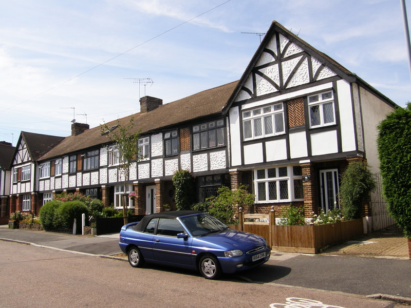 Mock Tudor houses in Woodford
