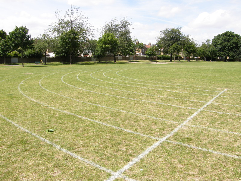 Sports day tracks in Plashet Park