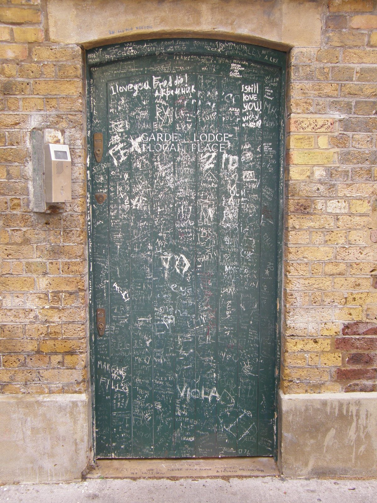 The door into Garden Lodge, Logan Place, the last home of
