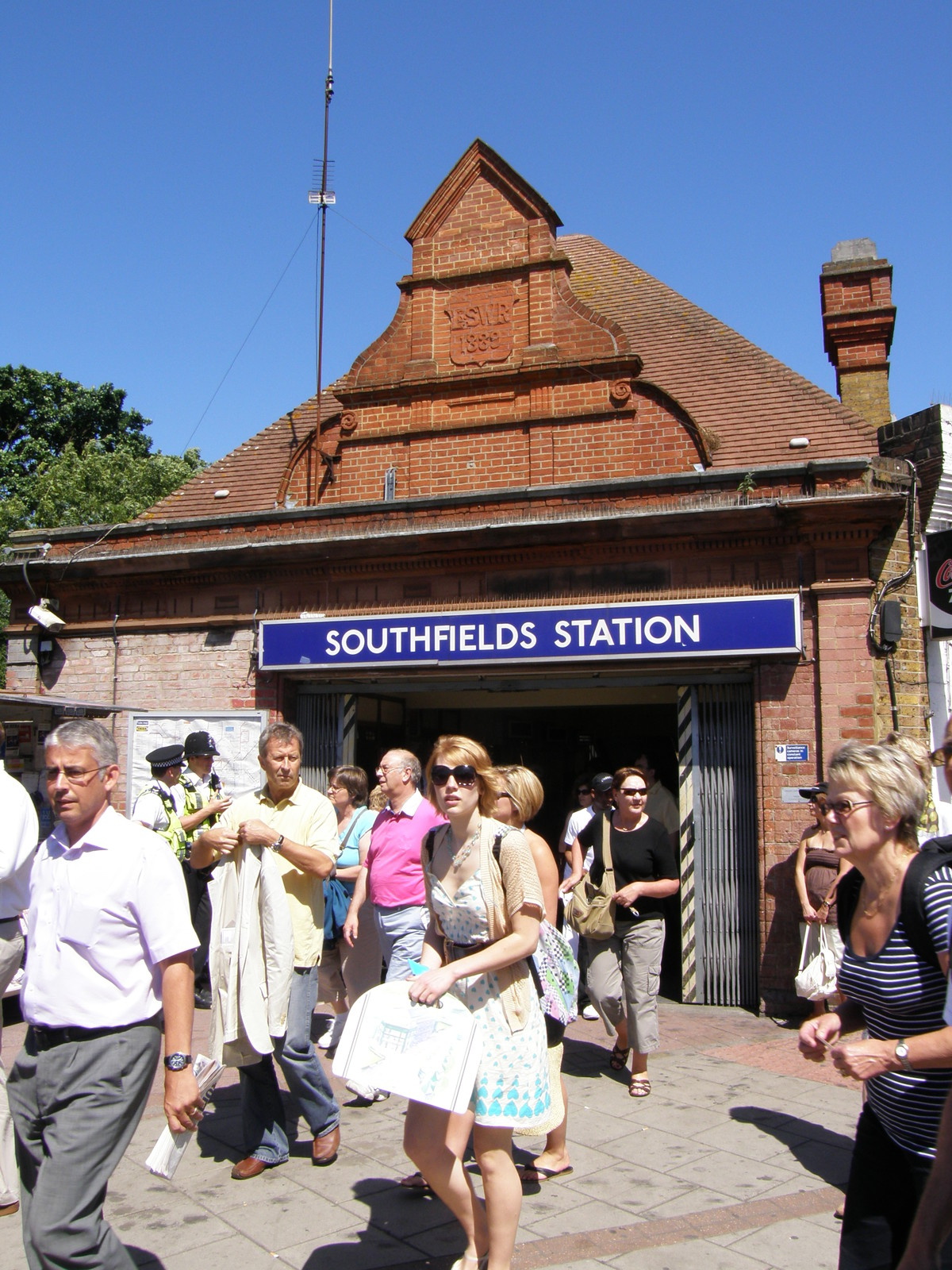 Crowds pouring out of Southfields station