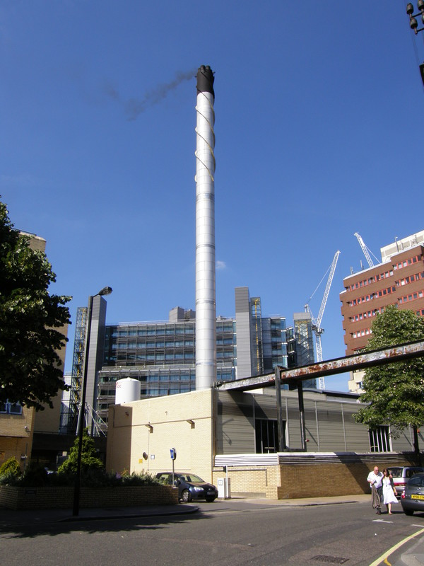 The incinerator at St Mary's Hospital, with Paddington Basin in the background