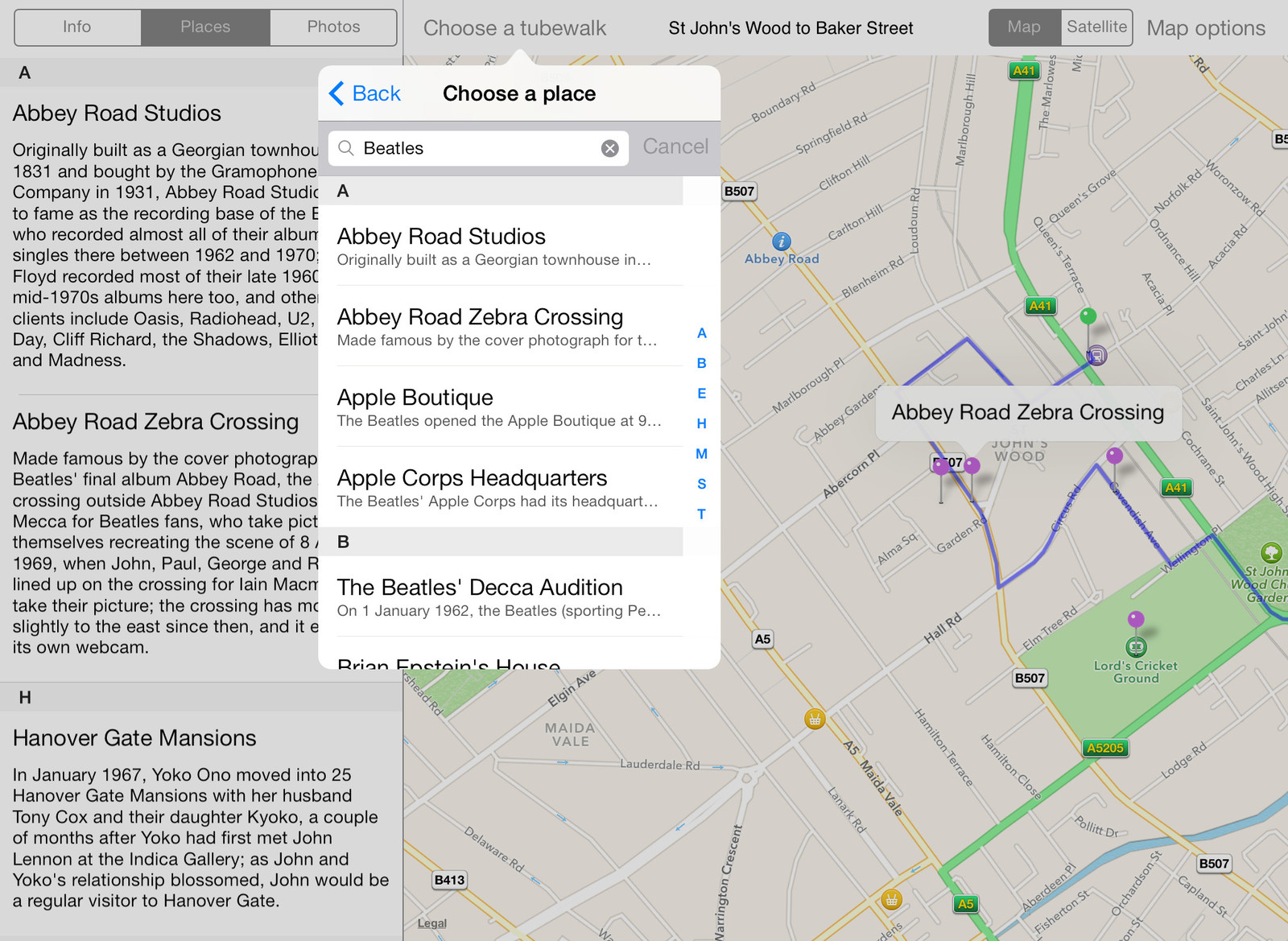 Searching for places of interest in the Tubewalker iPad application