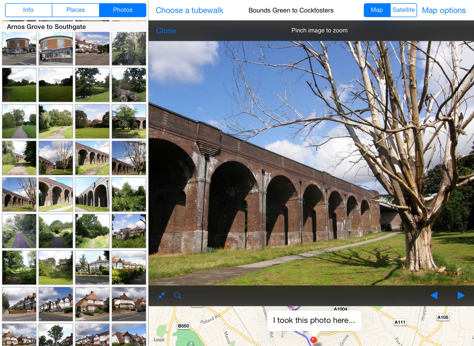 Viewing photos from a walk in the Tubewalker iPad application