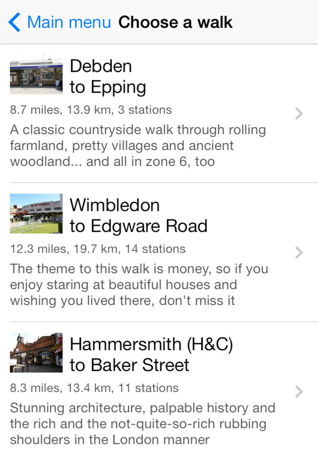 A list of recommended walks in the Tubewalker iPhone application