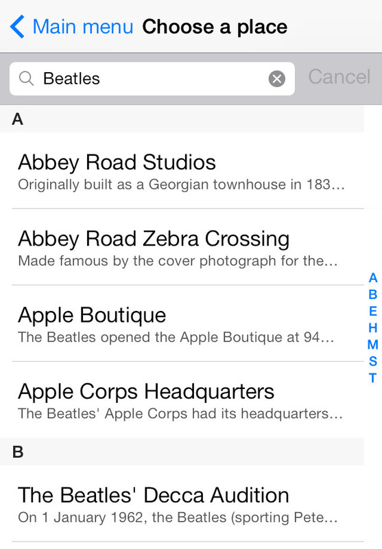 Searching for places of interest in the Tubewalker iPhone application