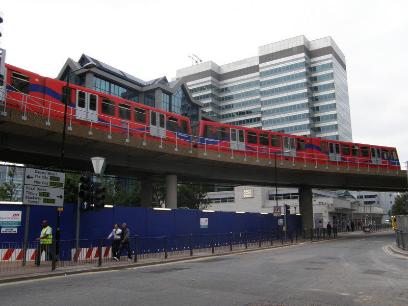 The Docklands Light Railway approaching South Quay station