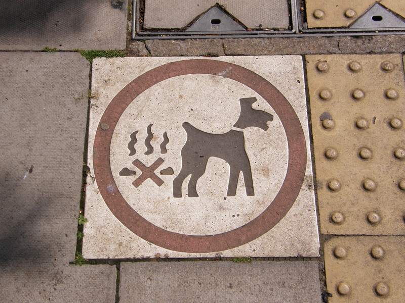 A pavement sign showing a dog and a pile of doggy do with a red cross through it
