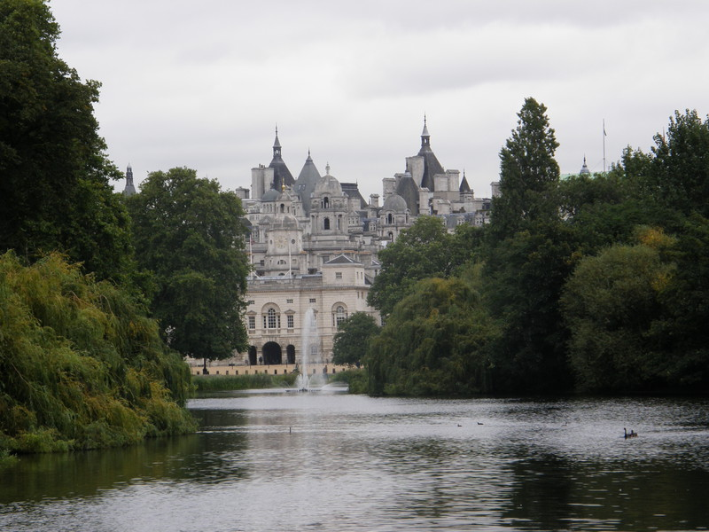 Horseguards Parade from the bridge on St James's Park Lake