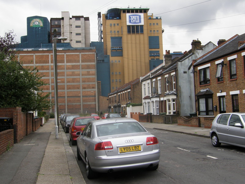 Houses between the Tate and Lyle factory and London City Airport