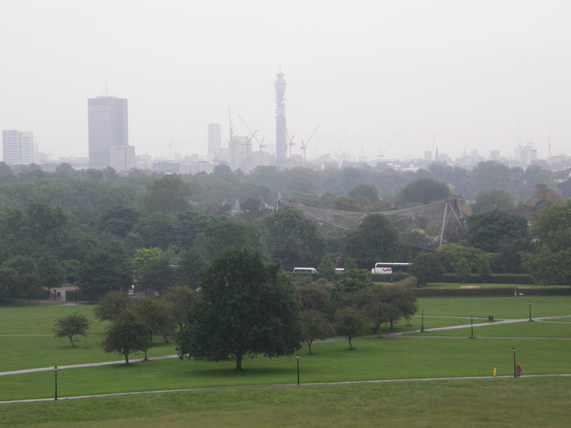 A rainy London skyline from Primrose Hill