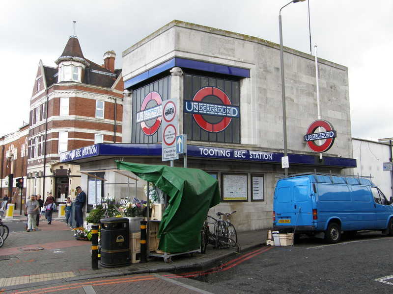 The smaller entrance to Tooting Bec station on the east side of the road