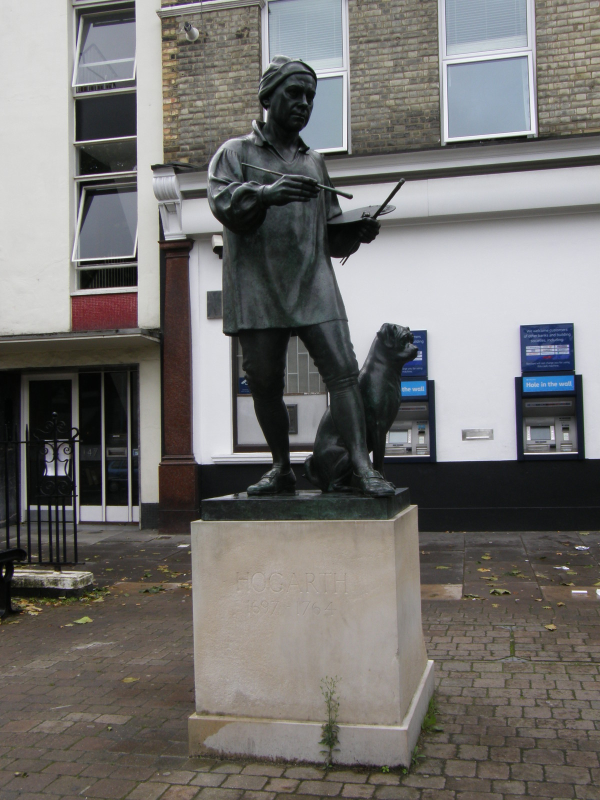 The statue of William Hogarth on Chiswick High Road