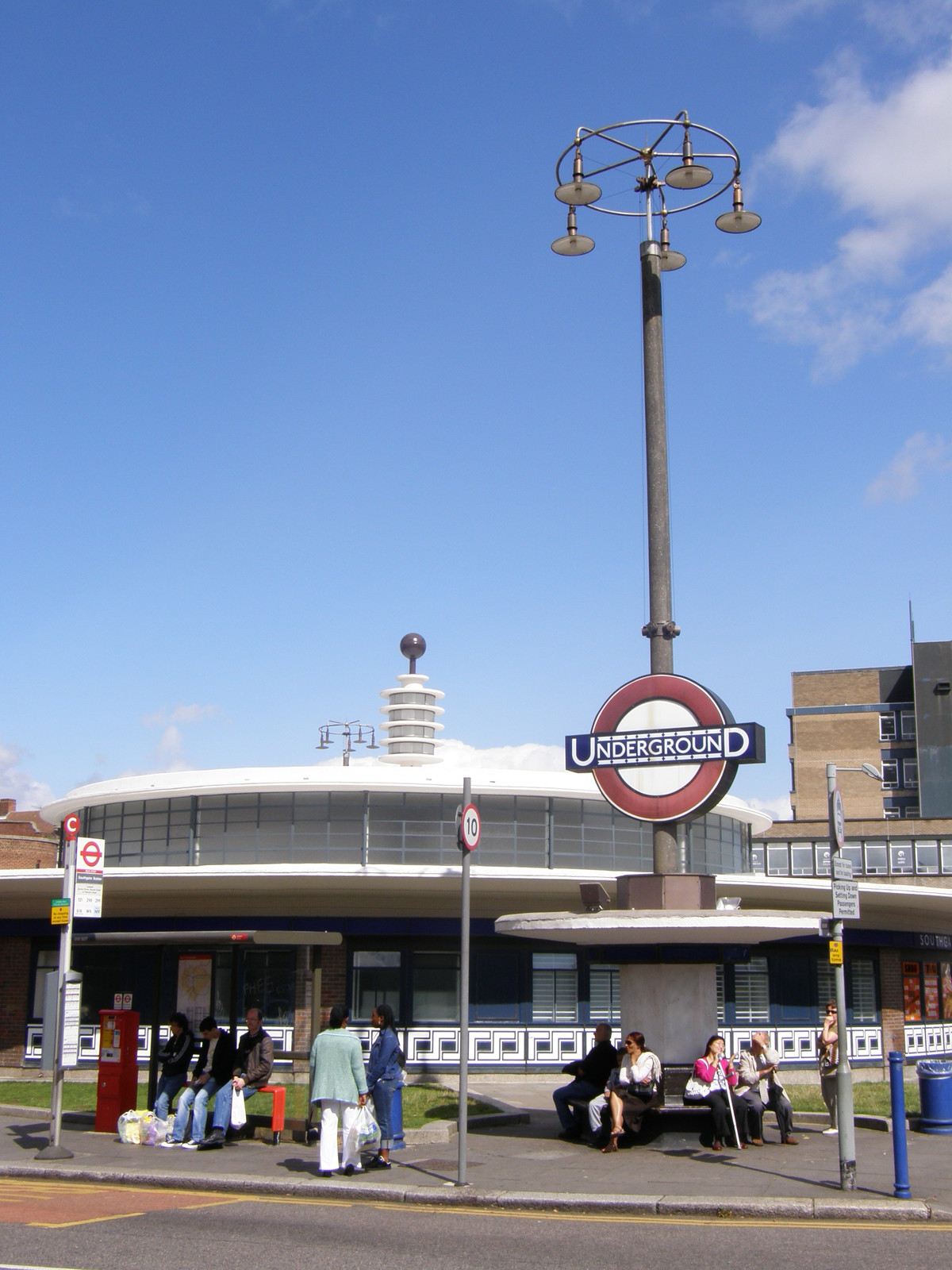 One of the futuristic shelters at Southgate station