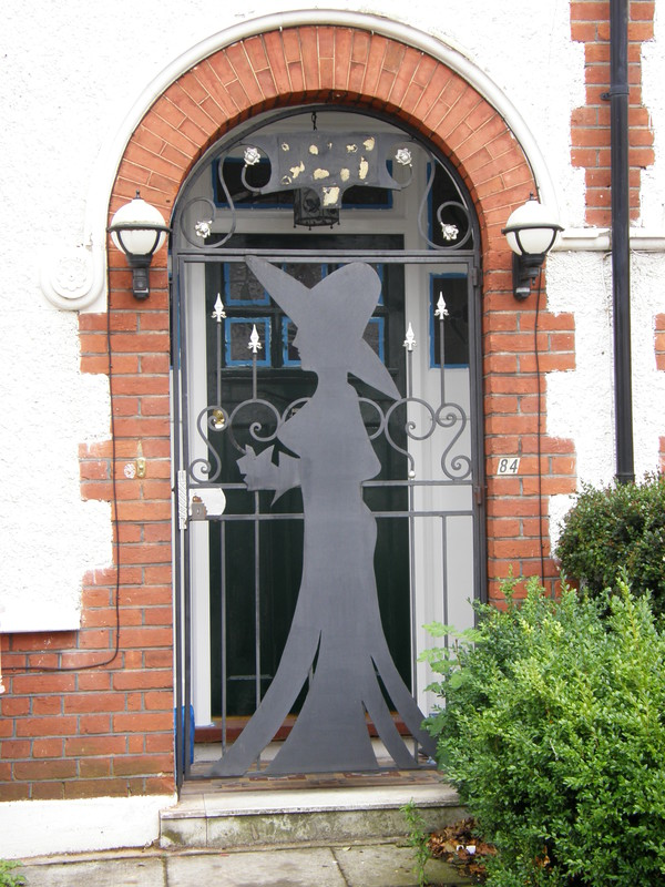 A witch design on a house door in Boileau Road