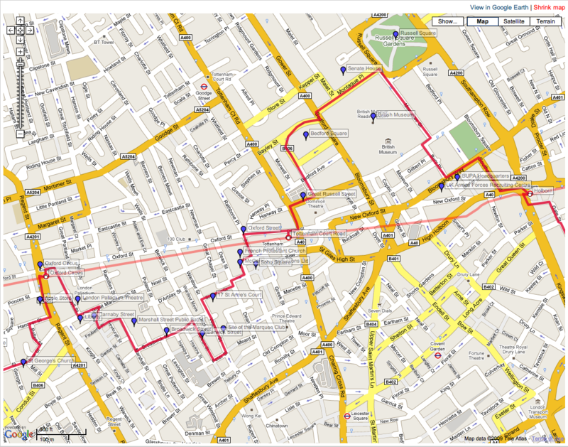 A screenshot showing a tubewalking route